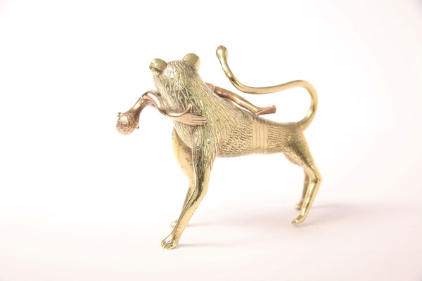 Vintage West African Brass Lion and Copper Man