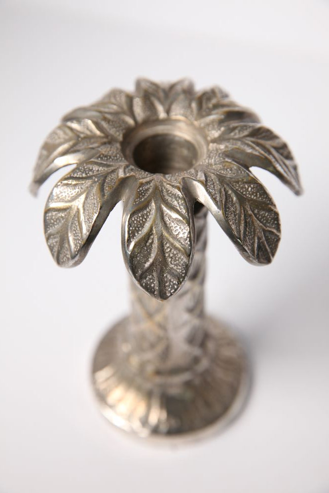 Vintage White Cast Metal Palm Tree Candle Stick - Jackdaw Living