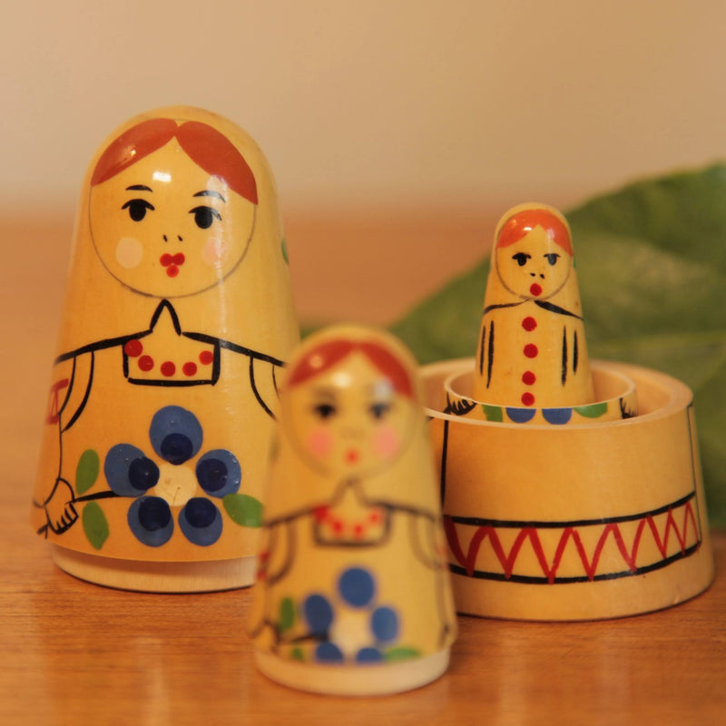 Vintage Cone Shaped Russian Nesting Dolls - Jackdaw Living