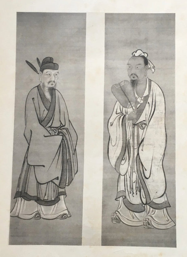 Jackdaw Living - Vintage Japanese Male Prints, Two Males Dressed in Robes and One Holding a Fan