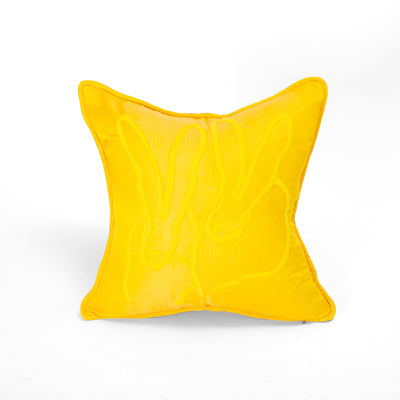 Hand Embroidered Silk & Velvet Bunny Pillow, Yellow, 18 x 18