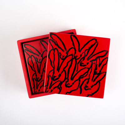 Red Bunny Lacquer Coaster Box Set