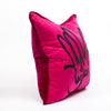 Hand Embroidered Silk & Velvet Bunny Pillow - Pink, 18 x 18