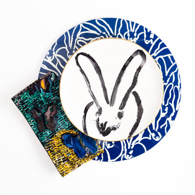 Rabbit Run Round Lacquer Placemat in Blue