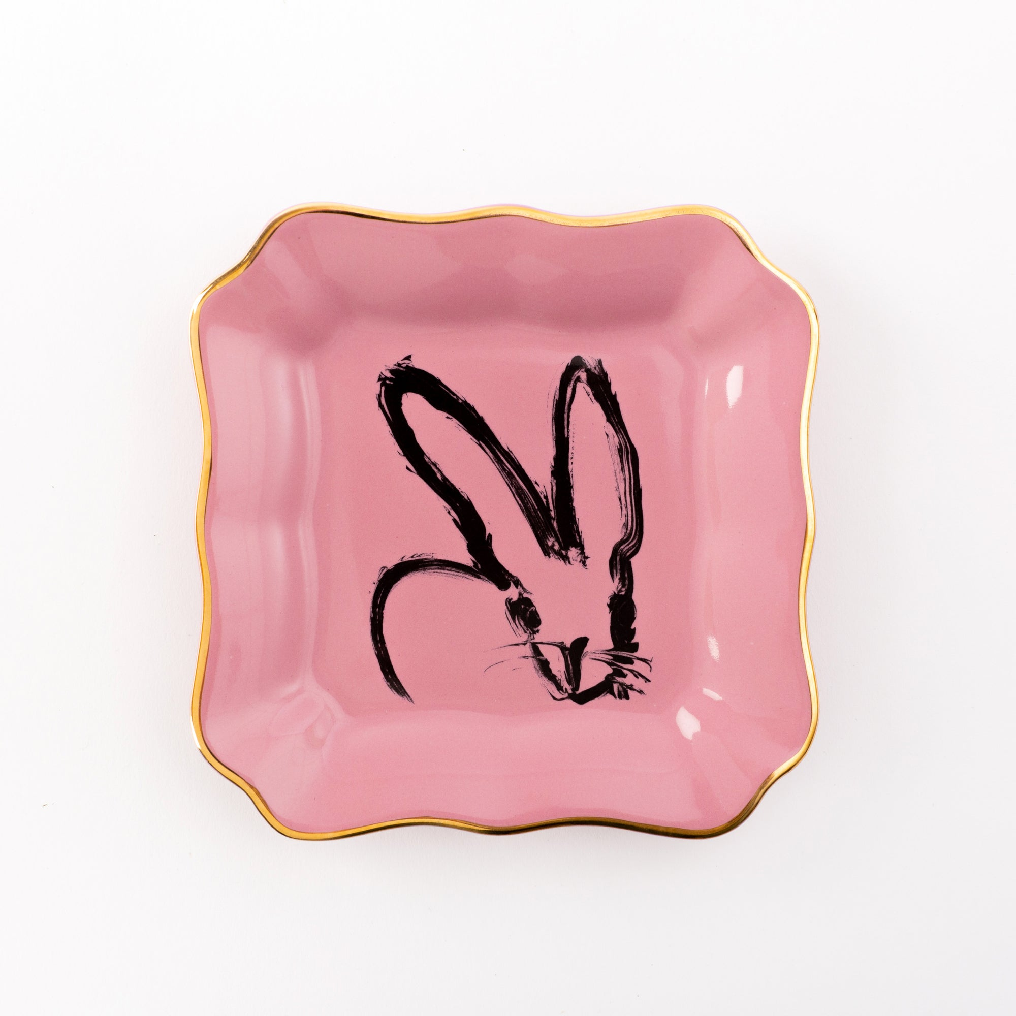 Bunny Portrait Plate - Pink with Hand Painted Gold Rim