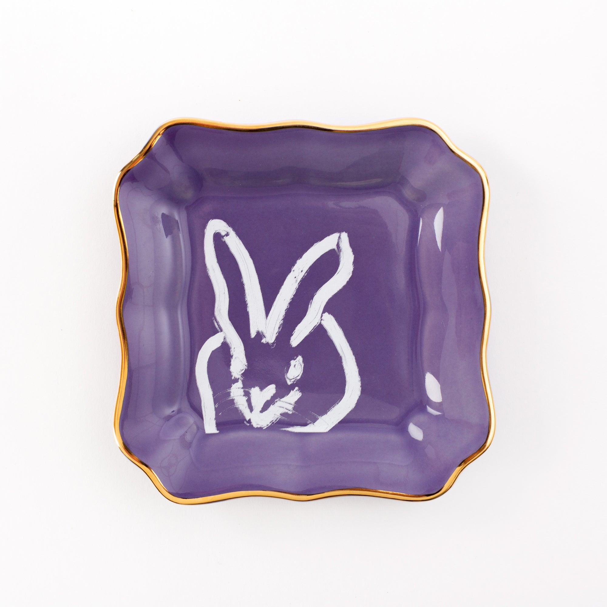 Bunny Portrait Plate - Lilac with Gold Rim