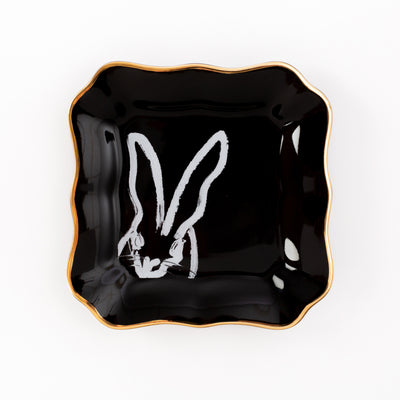 Bunny Portrait Plate - Black with Gold Rim