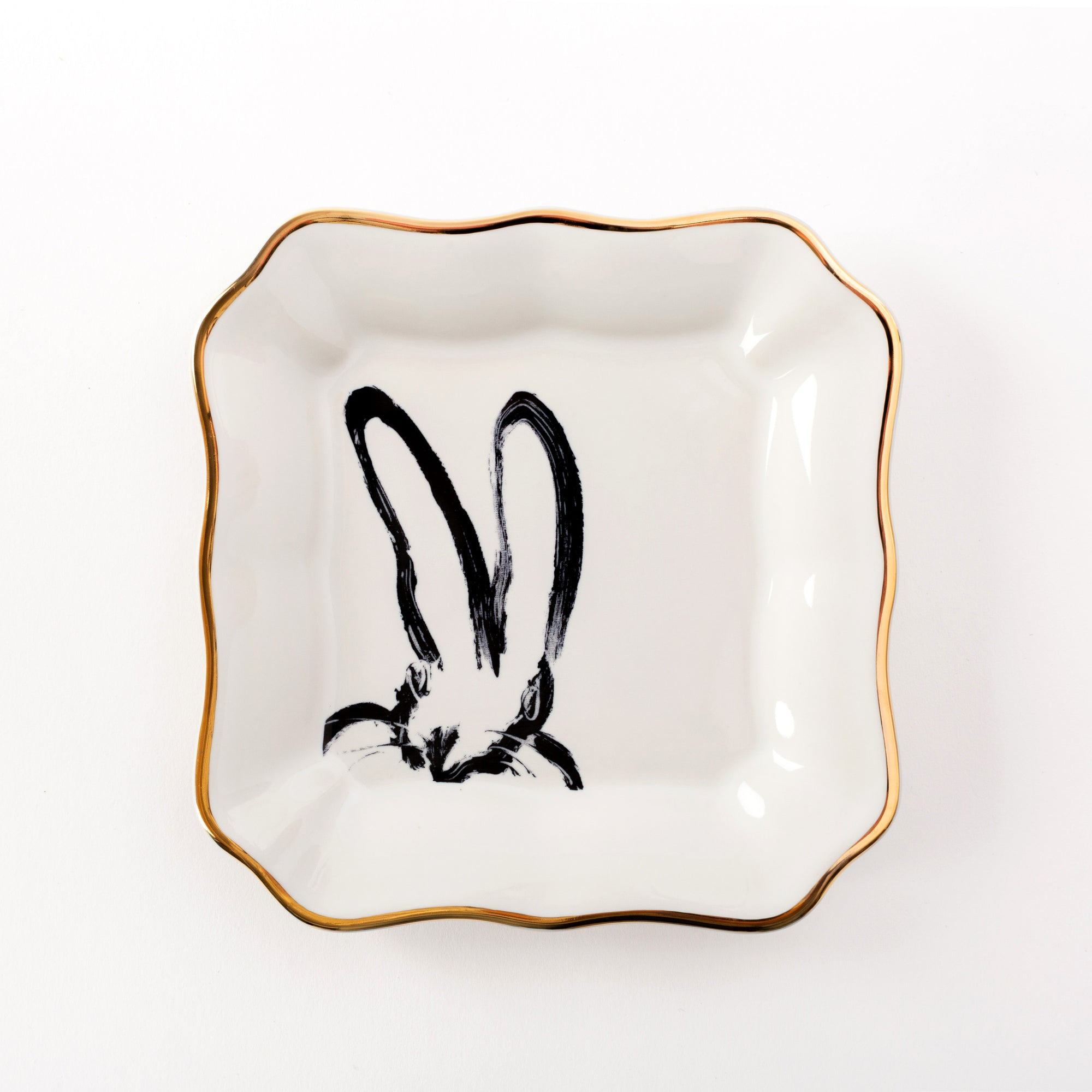 Bunny Portrait Plate - White with Hand Painted Gold Rim