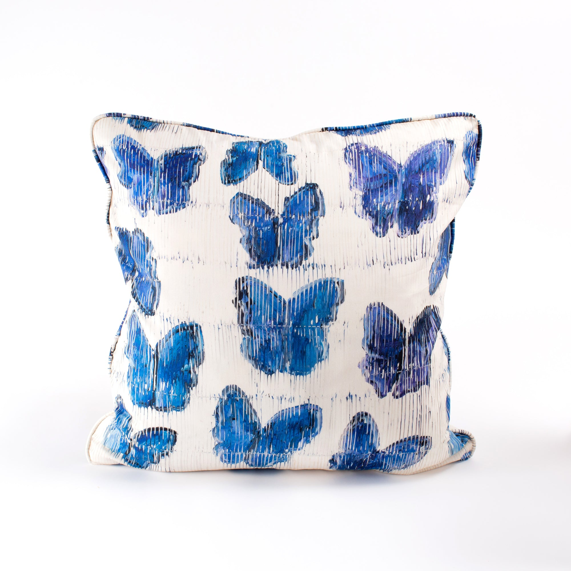 Butterflies in Blue Cotton Pillow Cover