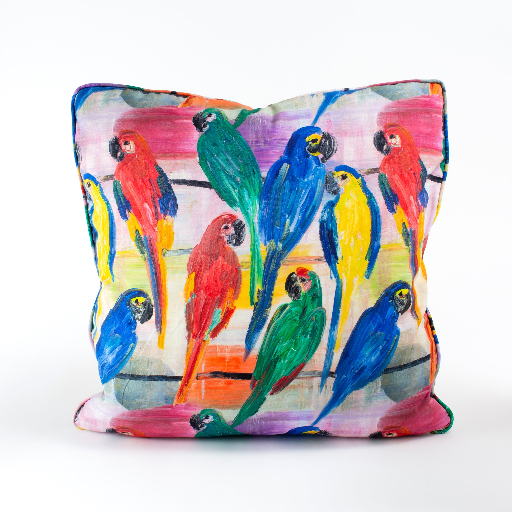Hunt's Parrots Cotton Pillow Cover