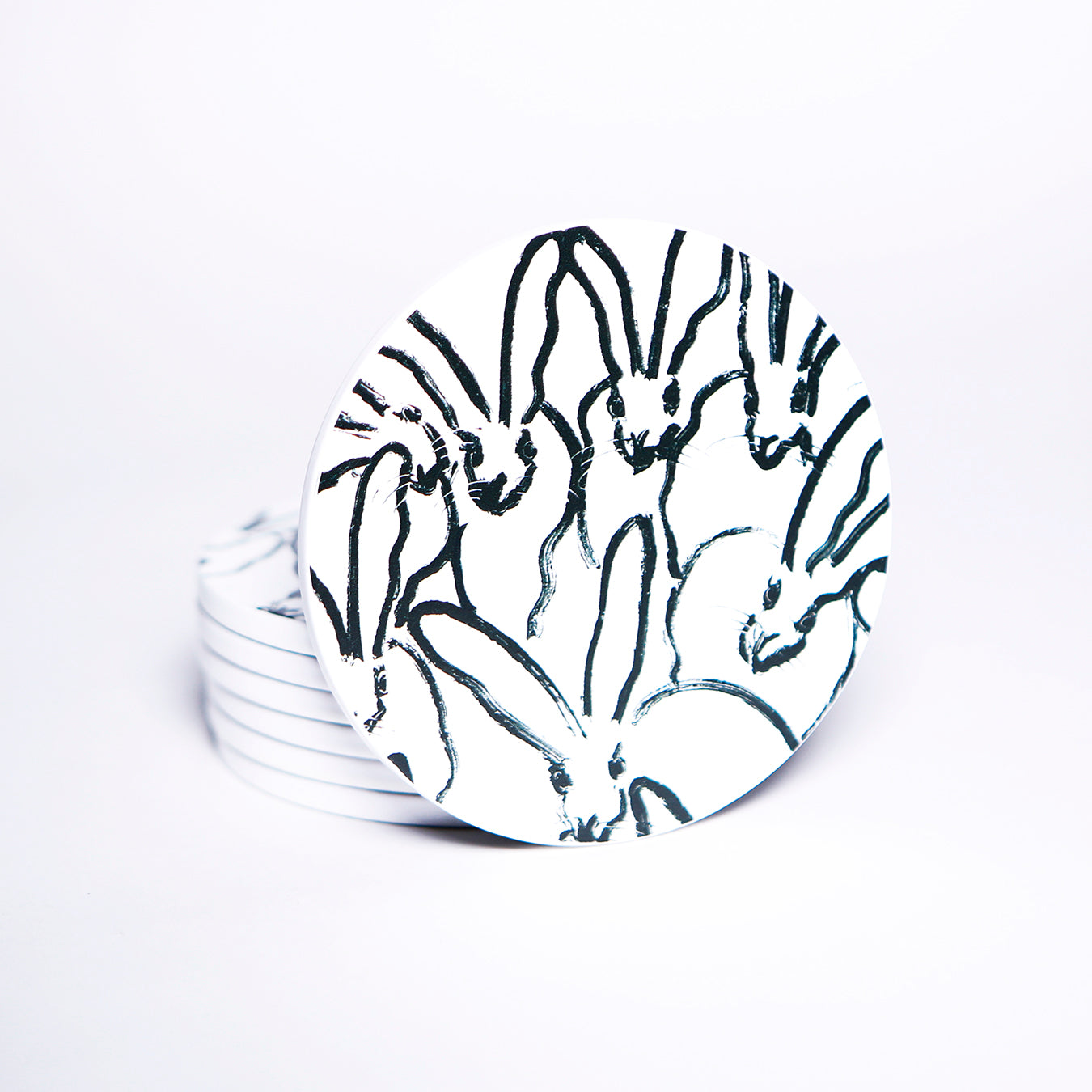White and Black Rabbit Run Lacquered Coasters