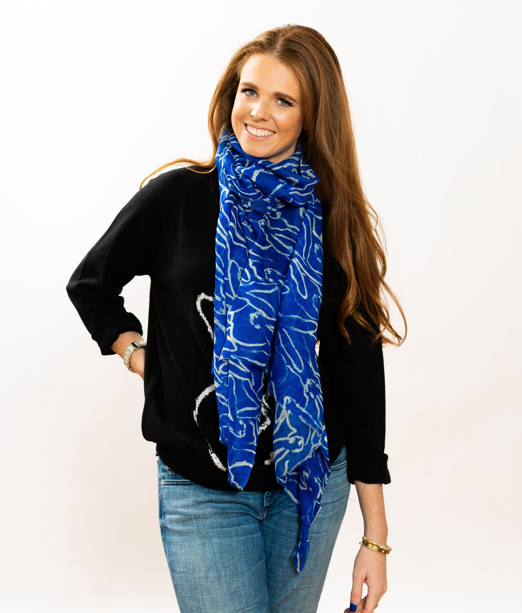 Rabbit Run Wool & Silk Scarf in Cobalt