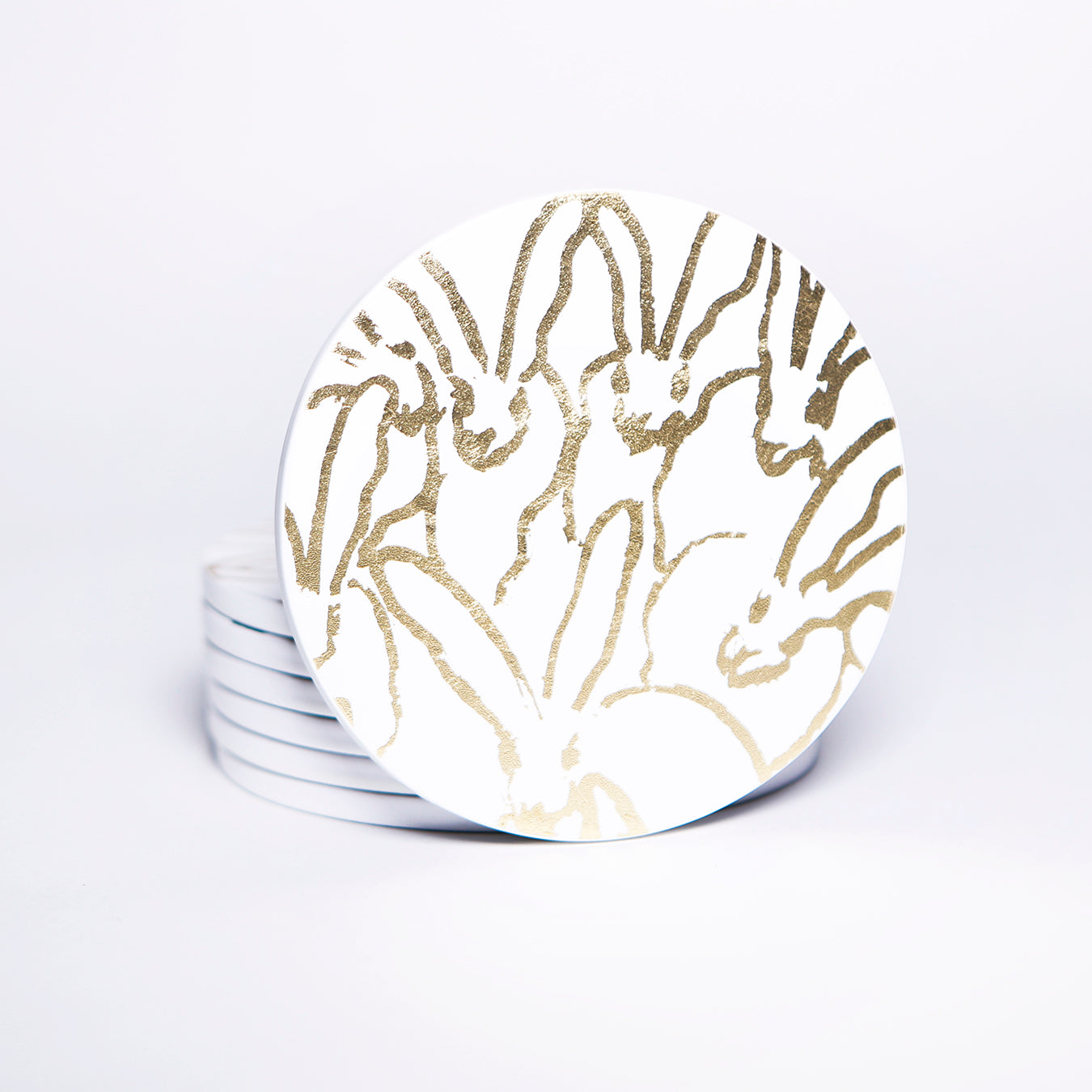 Gold and White Rabbit Run Lacquered Coasters