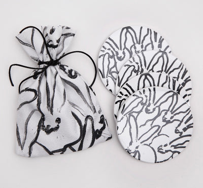 Rabbit Run Lacquered Coasters - White and Silver