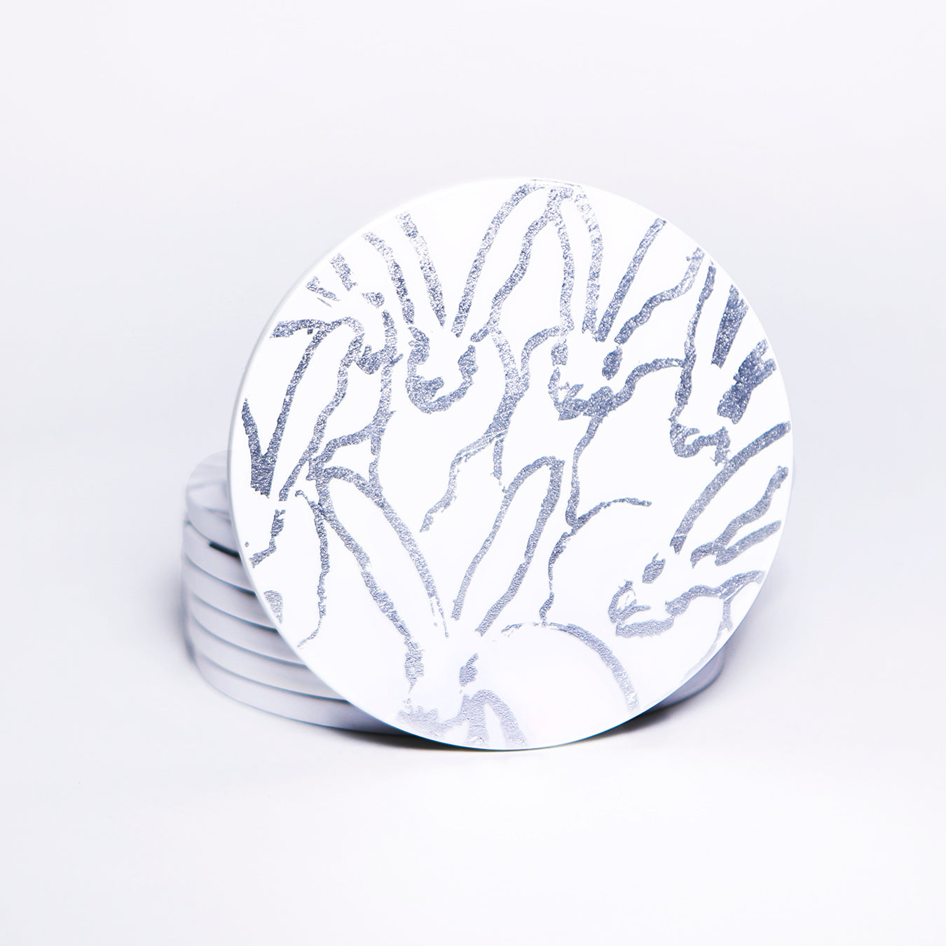Silver and White Rabbit Run Lacquered Coasters