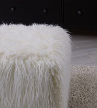 Load image into Gallery viewer, Faux Sheepskin Cube Stool - White