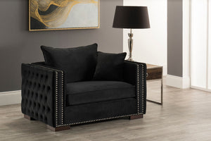 Moscow Snuggle Chair - Black Velvet