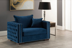Moscow Snuggle Chair - Blue Velvet