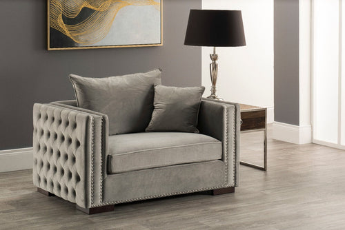 Moscow Snuggle Chair - Grey Velvet