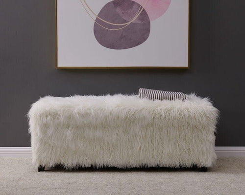 Faux Sheepskin Ottoman - White