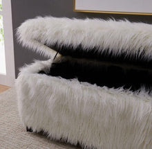 Load image into Gallery viewer, Faux Sheepskin Ottoman - White
