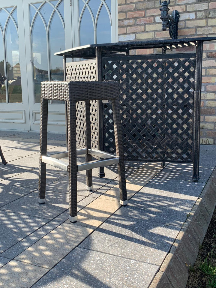 Rattan Outdoor Barstool-Brown