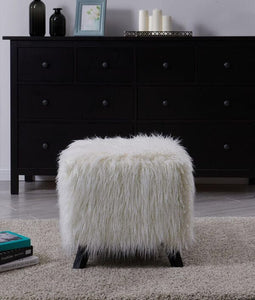Faux Sheepskin Cube Stool - White