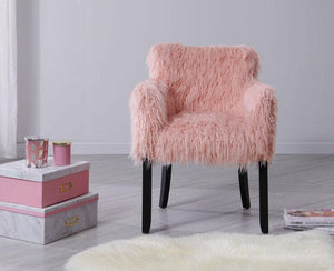 Faux Sheepskin Tub Chair - Pink