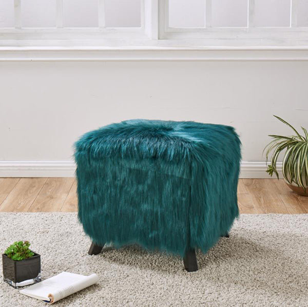 Faux Sheepskin Cube Stool - Teal