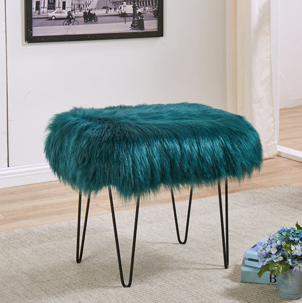 Faux Sheepskin Dressing Table Stool - Teal