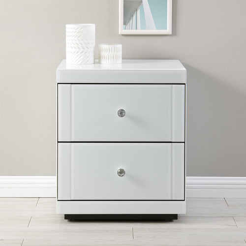 Hollywood 2 Drawer Side Table White Glass