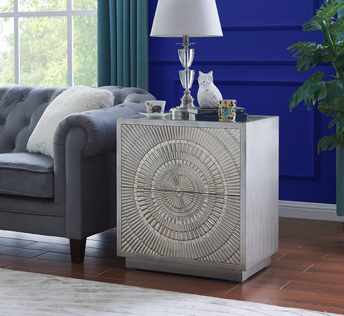 Frenso 2 Drawer Side Table - Silver