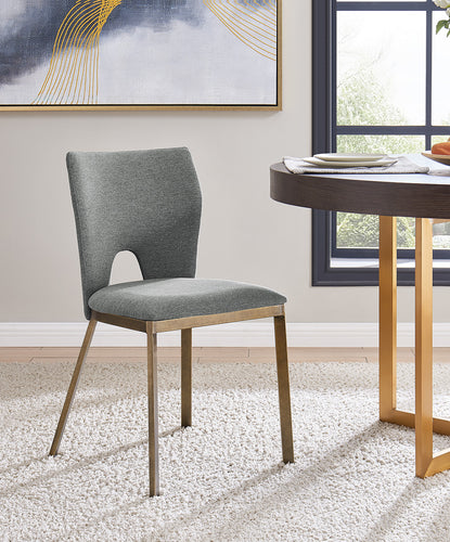 Ella Dining Chair - Brass / Grey Linen (Set of 2)