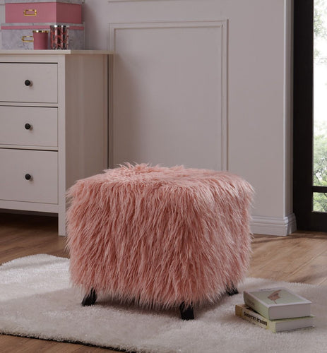 Faux Sheepskin Cube Stool - Pink