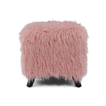 Load image into Gallery viewer, Faux Sheepskin Cube Stool - Pink