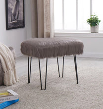 Load image into Gallery viewer, Faux Sheepskin Dressing Table Stool - Grey