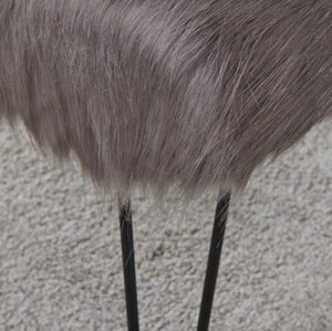 Faux Sheepskin Dressing Table Stool - Grey