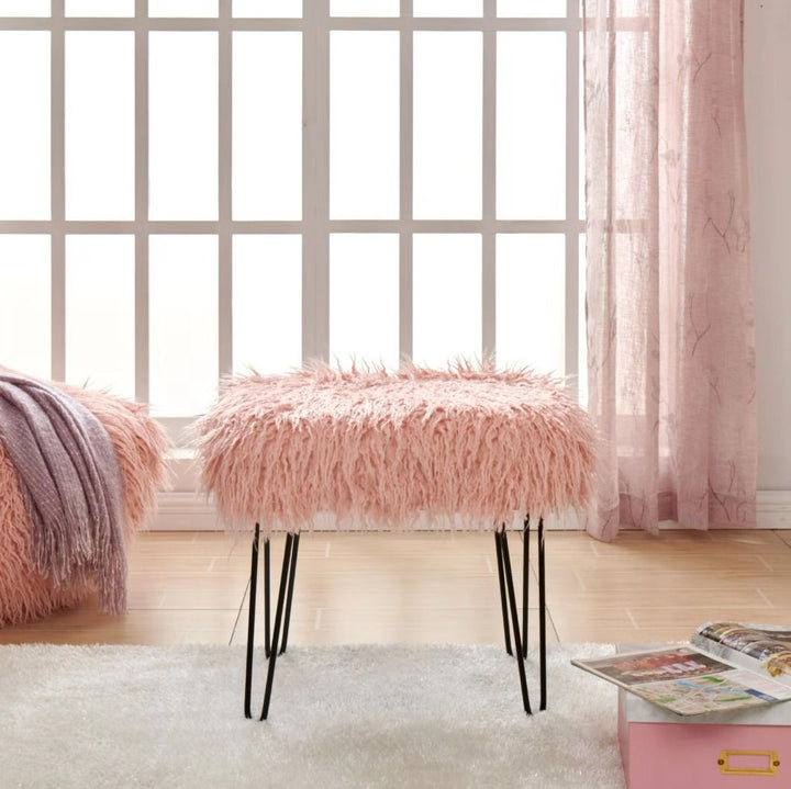 Faux Sheepskin Dressing Table Stool - Pink