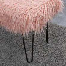 Load image into Gallery viewer, Faux Sheepskin Dressing Table Stool - Pink