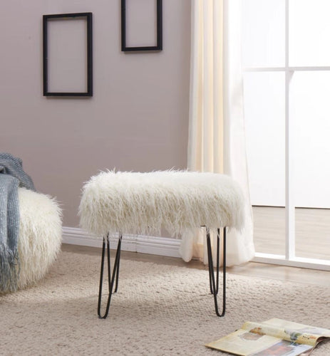 Faux Sheepskin Dressing Table Stool - White
