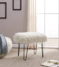 Load image into Gallery viewer, Faux Sheepskin Dressing Table Stool - White