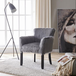 Faux Sheepskin Tub Chair - Grey