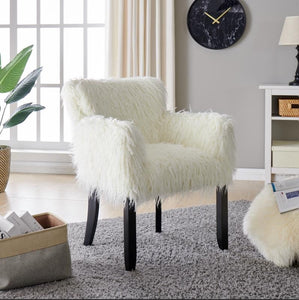 Faux Sheepskin Tub Chair - White