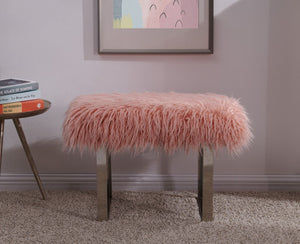 Faux Sheepskin Bench - Pink
