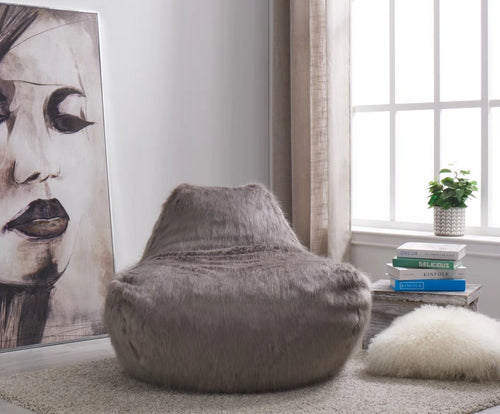 Faux Sheepskin Bean Bag - Grey