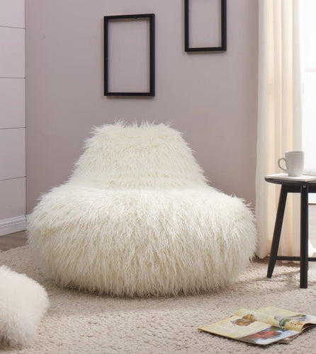 Faux Sheepskin Bean Bag - White