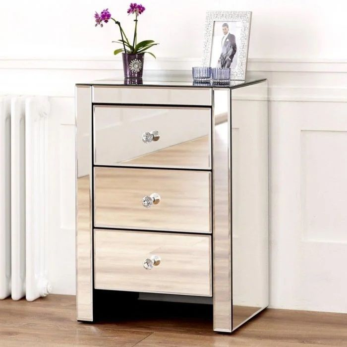 Hollywood 3 Drawer Side Table - Glass