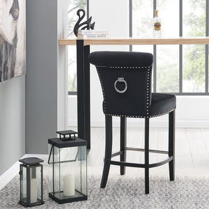 Knocker Back Barstool-Black Velvet