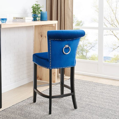 Knocker Back Barstool-Royal Blue Velvet