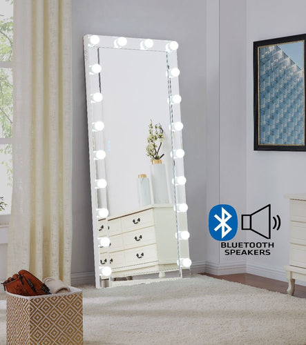 Hollywood Floor Mirror With Bluetooth Speaker - Glass
